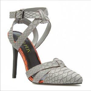 Paper Fox Sommer Grey Faux Snakeskin Stiletto Heel